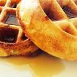 made to order waffles with warn Vermont maple syrup
