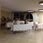 Florida room (LR) set up for business meeting