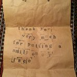 The owner printed this nice message for us on the paper bag he gave us for our coffee :)