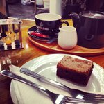 Tea and a delicious chocolate orange brownie. Probably one of the best brownies I've ever tasted