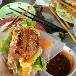 Ready to roll!  Bale well rice paper wrap served with amazing spicy peanut sauce.  Jan 2014, lun