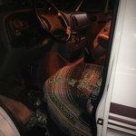 Broken window in camper van