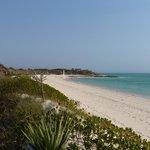 Vue de la plage et des bungalows