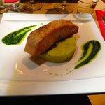 salmon with wasabi mash and pesto, so good!