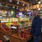 My husband in one of the farmer's market areas
