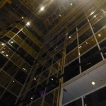 View looking up in the hotel lobby