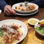 Spaghetti Carbonara and Spaghetti with Meatballs - sprinkled with Parmesano Reggiano