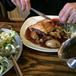 Dad enjoying the steak pie. Massive portion.