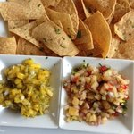 Chips w/ pineapple salsa and mango salsa
