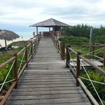 Board walk to swimming beach - beach bar