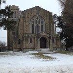 Church inside cemetary
