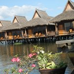 The Shwe Inn Tha Floating  Resort,  a close up of the guest bungalows...
