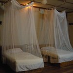 your  bed with mosquito net...