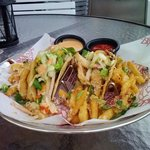 Grouper Taco with Truffle Parmesan Fries with Smoked Bacon