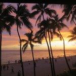 Waikiki Beach view at sunset