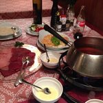Meat fondue (broth-definitely better than oil)