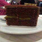 Mozart cake with chocolate, gianduja and marzipan
