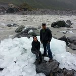 Washout glacier iceberg at the river. Strong current river behind. See what happen to the ice ju