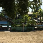 looking back to the pool bar from beach