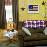 The Cabin is decorated in rustic Americana