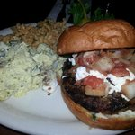 The Lamb Burger with a side of potato salad and the macaroni concoction!