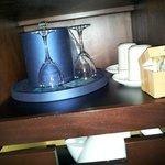 Glasses, ice bucket, coffee & tea, kettle underneath