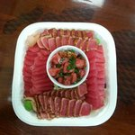 Cajun and Original Ahi Sashimi with Pőke in the middle. Great party platter.