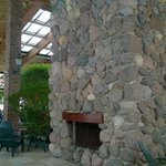 fireplace by the pool area