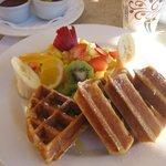 Waffle breakfast at Tomatoes Restaurant