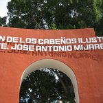 Inscription on top of the Plaza Mijares