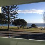 View of Mt Maunganui beach from unit