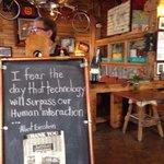 Welcome board as you enter cafe.