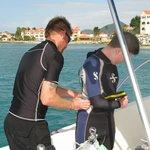 Preparing for 1st dive
