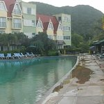 Panorama of the pool with the patio restaurant where we had breakfast in the back