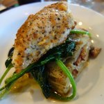 Crusted chicken, spinach and potato