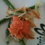 Excellent salmon salad in the buffet