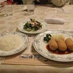 Crab crocket, salad, and rice