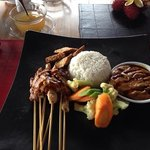 satay chicken and beef with rice