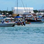 Fourth of July Boating Crowd at Peanut Island Seen from Sailfish Marina Restaurant