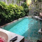 private pool with the seashell curtain always giving nice bling sound with windblow