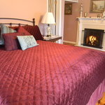 One of our delux rooms, Monet, with new King bed and fireplace