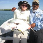 Alex, our guide, & Patti, a happy fishing lady!