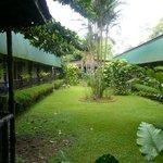 Lodge courtyard ground between wings