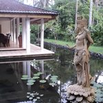 saraswati statue in the lotus pond