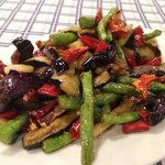 Stir fry long beans and egg plant with Chinese ham