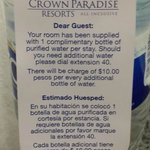 One Complimentary Bottle of Water In Room