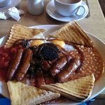 The 'Full English Breakfast' with a cup of tea.