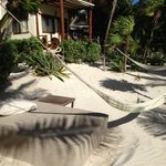 outside our cabana, beds and hammocks everywhere
