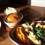 steak and kidney pie, yummy selection veg & roasties