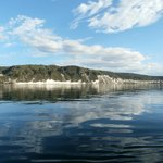 White cliffs of Lake Taupo. Swam off the boat.